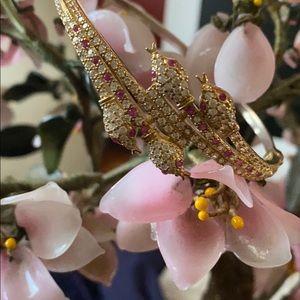 Vintage 925 snakes head ruby &topaz bracelet